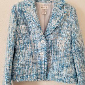 Chadwicks Tweed Raw Hem Trim Blazer Sky Blue